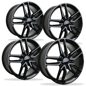 Corvette Wheel - C7 Corvette Stingray Z51 Split Spoke GM (Set) : Gloss Black 2014 2015