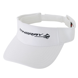 2014, 2015, 2016, 2017 C7 Corvette Stingray - Polyester Visor Embroidered : White