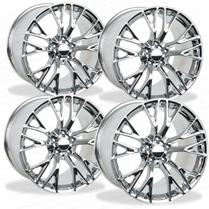 2015, 2016, 2017, C7 Corvette Z06 Genuine GM Wheels (Set) : Chrome 19x10 / 20x12