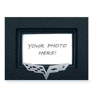 2005-2013 C6 Corvette Photo/Picture Frame w/Brushed Stainless Steel Emblem